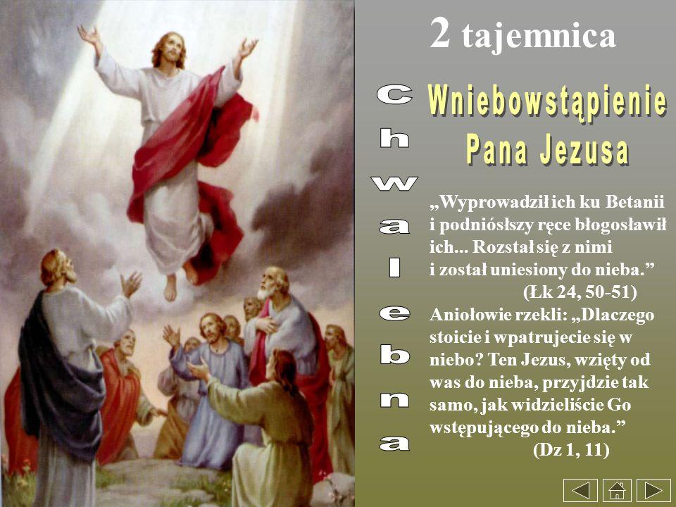 2 tajemnica Wyprowadził ich ku Betanii i podniósłszy ręce błogosławił ich... Rozstał się z nimi i został uniesiony do nieba. (Łk 24, 50-51) Aniołowie