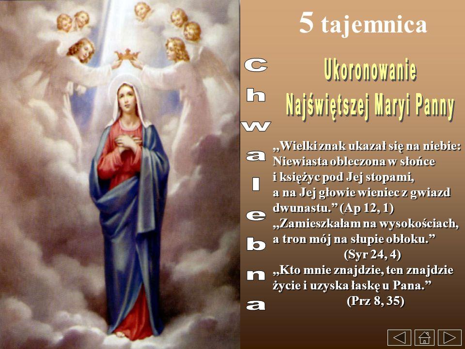 5 tajemnica,,Wielki znak ukazał się na niebie: Niewiasta obleczona w słońce i księżyc pod Jej stopami, a na Jej głowie wieniec z gwiazd dwunastu. (Ap