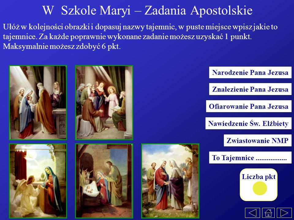 W Szkole Maryi – Zadania Apostolskie Narodzenie Pana Jezusa Zwiastowanie NMP Nawiedzenie Św. Elżbiety Znalezienie Pana Jezusa Ofiarowanie Pana Jezusa