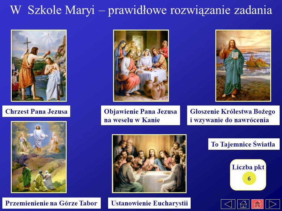 6 Głoszenie Królestwa Bożego i wzywanie do nawrócenia Ustanowienie Eucharystii Objawienie Pana Jezusa na weselu w Kanie Chrzest Pana Jezusa Przemienie