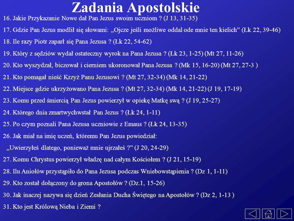 Zadania Apostolskie 16. Jakie Przykazanie Nowe dał Pan Jezus swoim uczniom ? (J 13, 31-35) 17. Gdzie Pan Jezus modlił się słowami:,,Ojcze jeśli możliw
