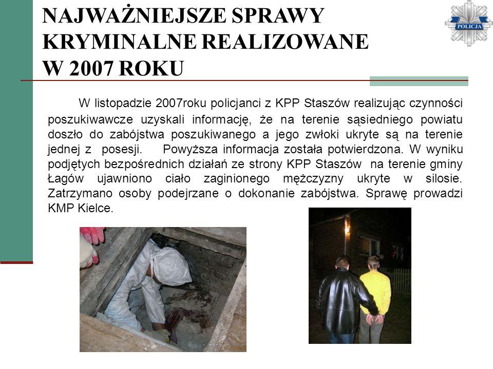 NAJWAŻNIEJSZE SPRAWY KRYMINALNE REALIZOWANE W 2007 ROKU W listopadzie 2007roku policjanci z KPP Staszów realizując czynności poszukiwawcze uzyskali in