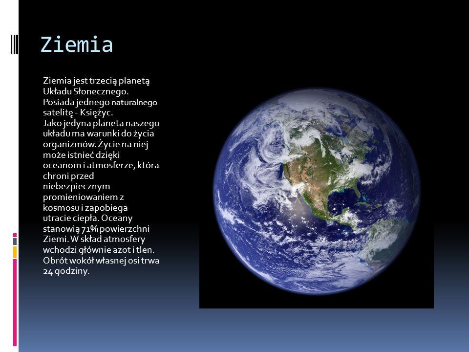 Ciekawostka o Planetach Układu Słonecznego Wokół planet ( oprócz Merkurego i Wenus) krążą niewielkie ciała niebieskie zwane Księżycami. Ziemie obiega