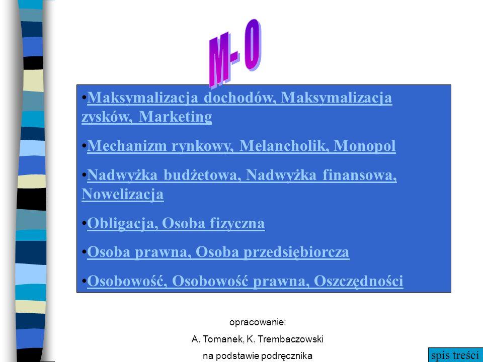 spis treści opracowanie: A. Tomanek, K. Trembaczowski na podstawie podręcznika M- O Maksymalizacja dochodów, Maksymalizacja zysków, MarketingMaksymali