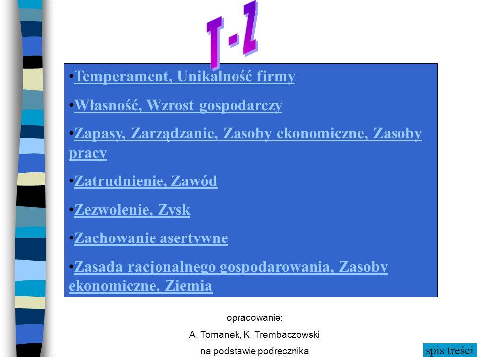 spis treści opracowanie: A. Tomanek, K. Trembaczowski na podstawie podręcznika T - Z Temperament, Unikalność firmy Własność, Wzrost gospodarczy Zapasy