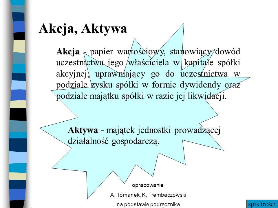 spis treści opracowanie: A. Tomanek, K. Trembaczowski na podstawie podręcznika Akcja Akcja - papier wartościowy, stanowiący dowód uczestnictwa jego wł