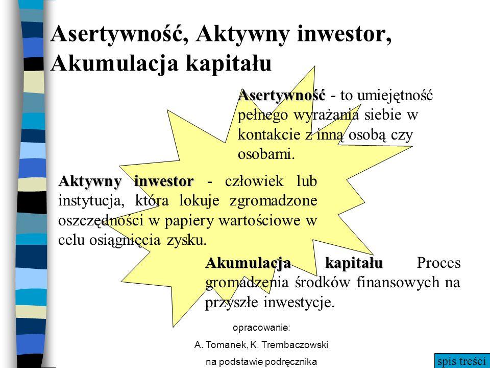 spis treści opracowanie: A. Tomanek, K. Trembaczowski na podstawie podręcznika Akumulacja kapitału Akumulacja kapitału Proces gromadzenia środków fina