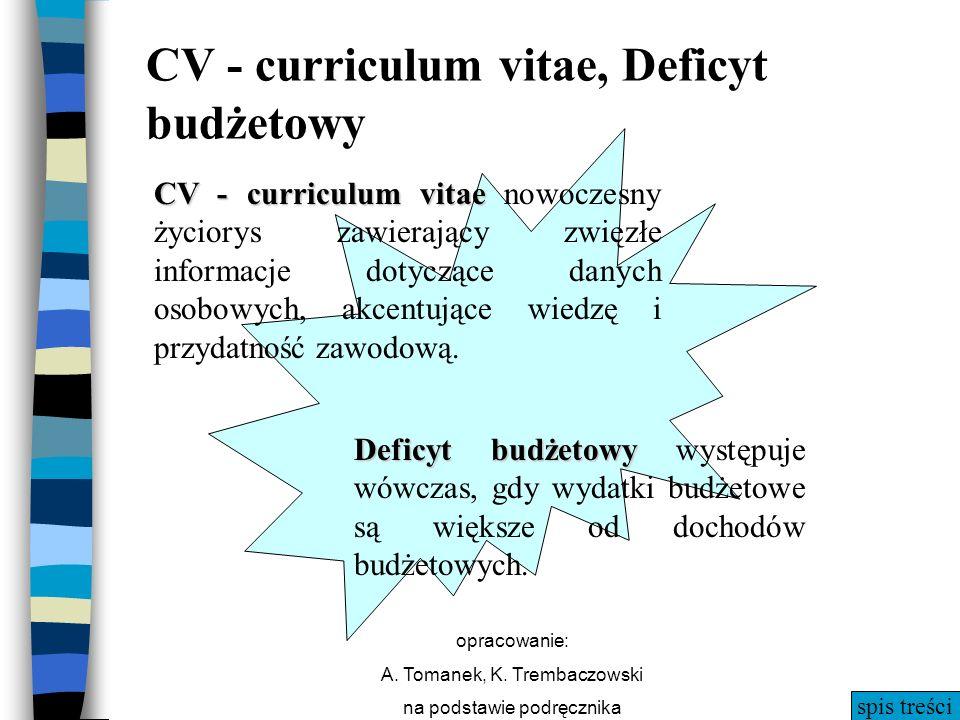 spis treści opracowanie: A. Tomanek, K. Trembaczowski na podstawie podręcznika CV - curriculum vitae CV - curriculum vitae nowoczesny życiorys zawiera