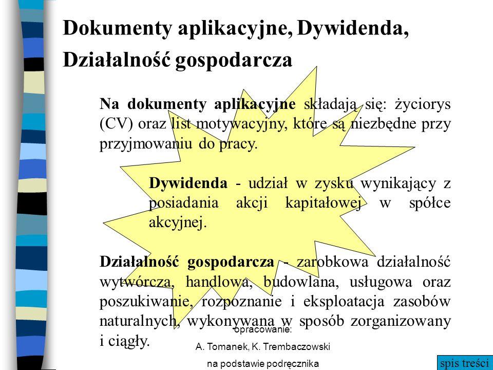 spis treści opracowanie: A. Tomanek, K. Trembaczowski na podstawie podręcznika Dokumenty aplikacyjne, Dywidenda, Działalność gospodarcza Na dokumenty