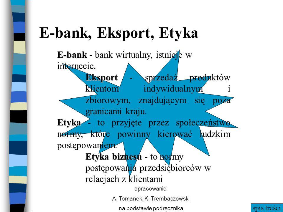 spis treści opracowanie: A. Tomanek, K. Trembaczowski na podstawie podręcznika E-bank, Eksport, Etyka E-bank E-bank - bank wirtualny, istnieje w inter