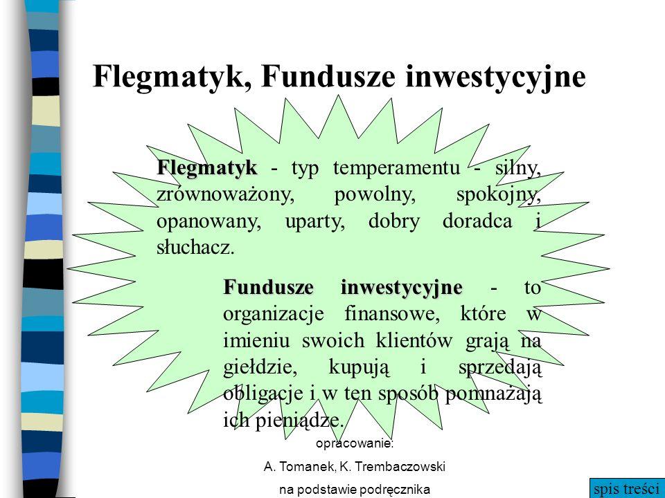 spis treści opracowanie: A. Tomanek, K. Trembaczowski na podstawie podręcznika Flegmatyk, Fundusze inwestycyjne Flegmatyk Flegmatyk - typ temperamentu
