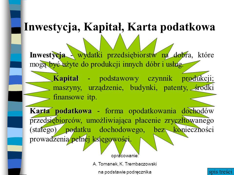 spis treści opracowanie: A. Tomanek, K. Trembaczowski na podstawie podręcznika Inwestycja, Kapitał, Karta podatkowa Inwestycja Inwestycja - wydatki pr