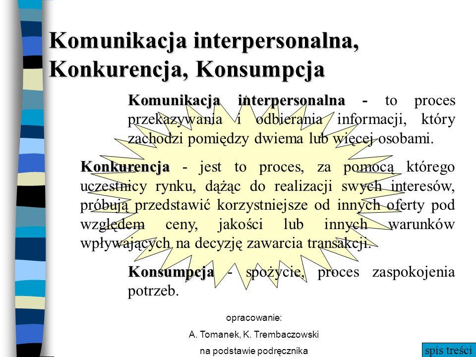 spis treści opracowanie: A. Tomanek, K. Trembaczowski na podstawie podręcznika Komunikacja interpersonalna, Konkurencja, Konsumpcja Komunikacja interp