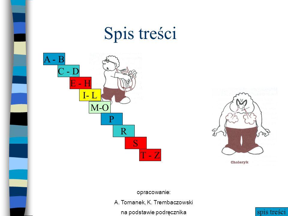 spis treści opracowanie: A. Tomanek, K. Trembaczowski na podstawie podręcznika Spis treści A - B C - D E - H I- L M-O P R S T - Z