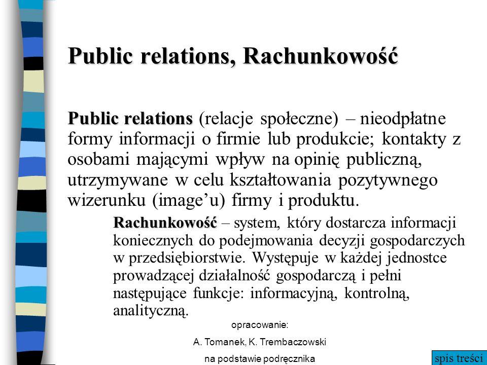 spis treści opracowanie: A. Tomanek, K. Trembaczowski na podstawie podręcznika Public relations, Rachunkowość Public relations Public relations (relac