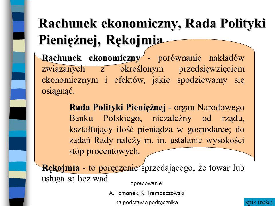 spis treści opracowanie: A. Tomanek, K. Trembaczowski na podstawie podręcznika Rachunek ekonomiczny, Rada Polityki Pieniężnej, Rękojmia Rachunek ekono