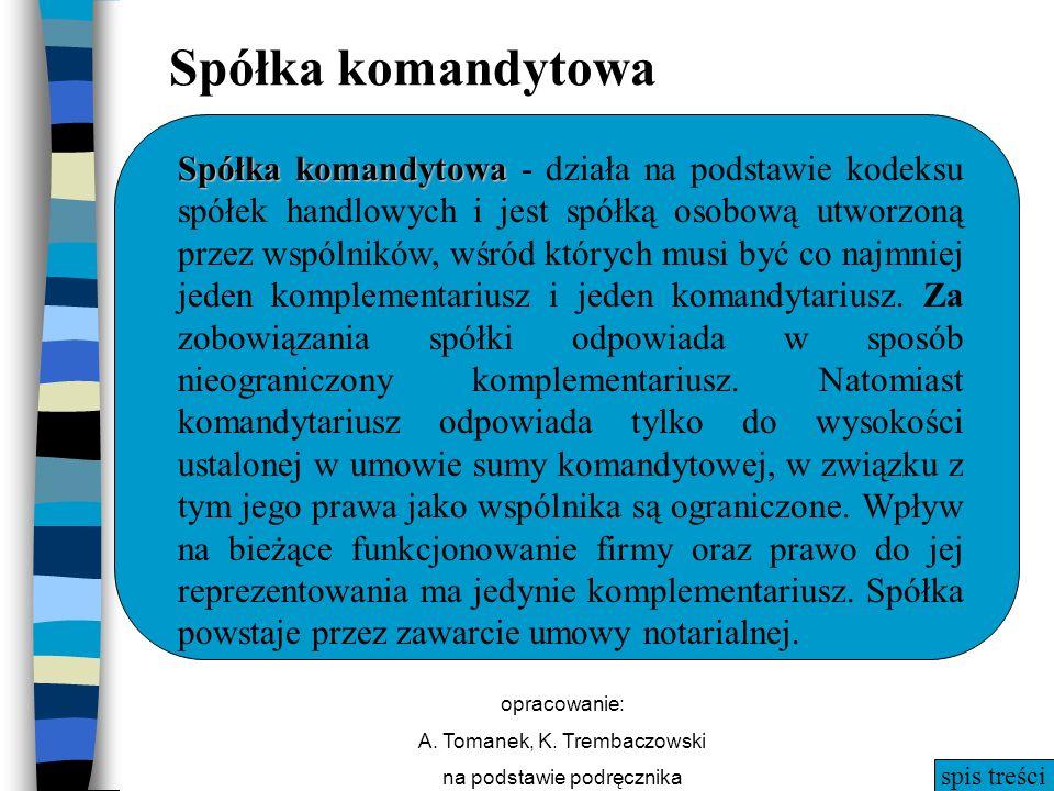 spis treści opracowanie: A. Tomanek, K. Trembaczowski na podstawie podręcznika Spółka komandytowa Spółka komandytowa Spółka komandytowa - działa na po