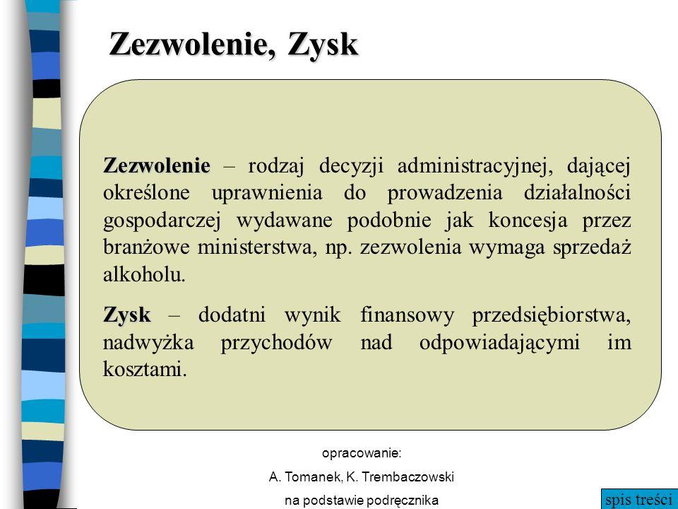 spis treści opracowanie: A. Tomanek, K. Trembaczowski na podstawie podręcznika Zezwolenie, Zysk Zezwolenie Zezwolenie – rodzaj decyzji administracyjne