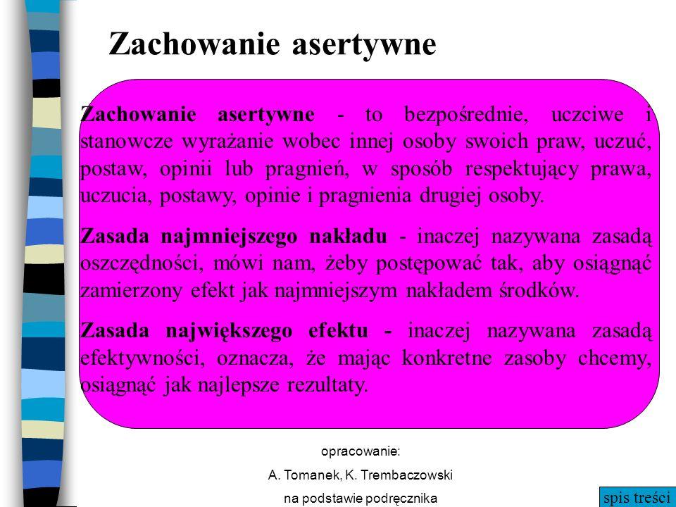 spis treści opracowanie: A. Tomanek, K. Trembaczowski na podstawie podręcznika Zachowanie asertywne Zachowanie asertywne - to bezpośrednie, uczciwe i