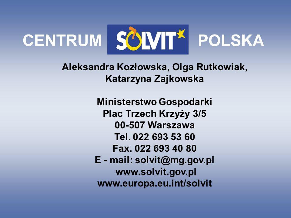 CENTRUM POLSKA Aleksandra Kozłowska, Olga Rutkowiak, Katarzyna Zajkowska Ministerstwo Gospodarki Plac Trzech Krzyży 3/5 00-507 Warszawa Tel.