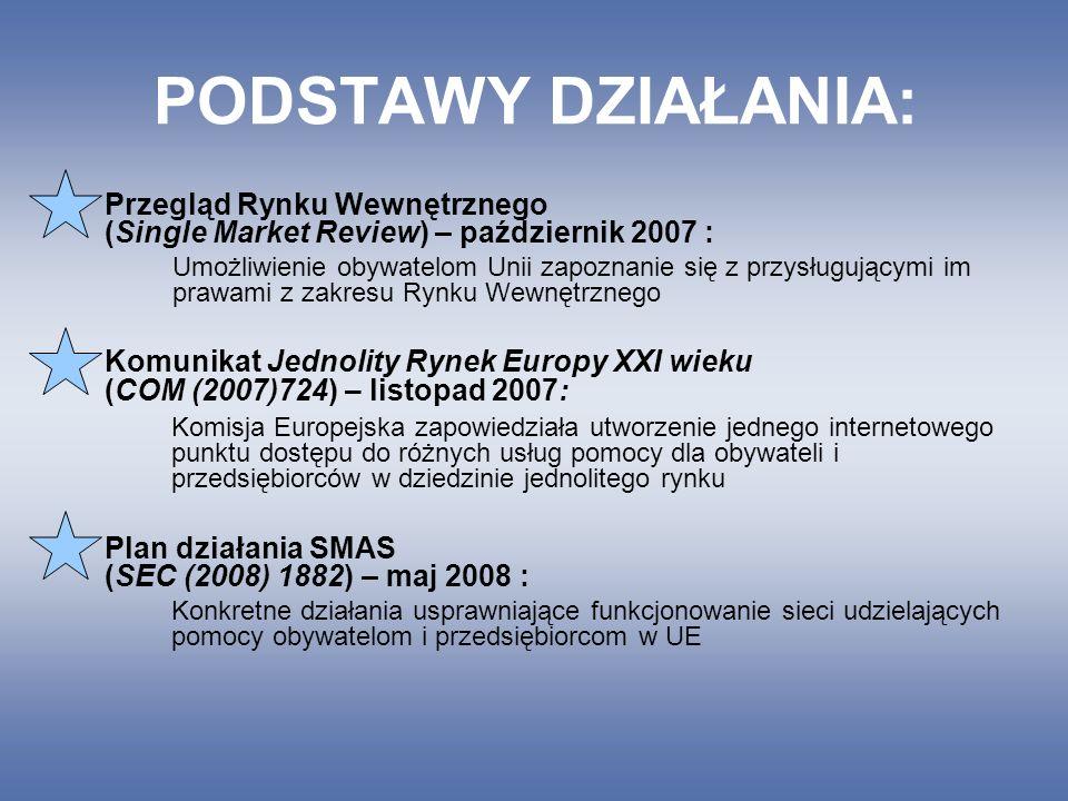 PODSTAWY DZIAŁANIA: Przegląd Rynku Wewnętrznego (Single Market Review) – październik 2007 : Umożliwienie obywatelom Unii zapoznanie się z przysługującymi im prawami z zakresu Rynku Wewnętrznego Komunikat Jednolity Rynek Europy XXI wieku (COM (2007)724) – listopad 2007: Komisja Europejska zapowiedziała utworzenie jednego internetowego punktu dostępu do różnych usług pomocy dla obywateli i przedsiębiorców w dziedzinie jednolitego rynku Plan działania SMAS (SEC (2008) 1882) – maj 2008 : Konkretne działania usprawniające funkcjonowanie sieci udzielających pomocy obywatelom i przedsiębiorcom w UE