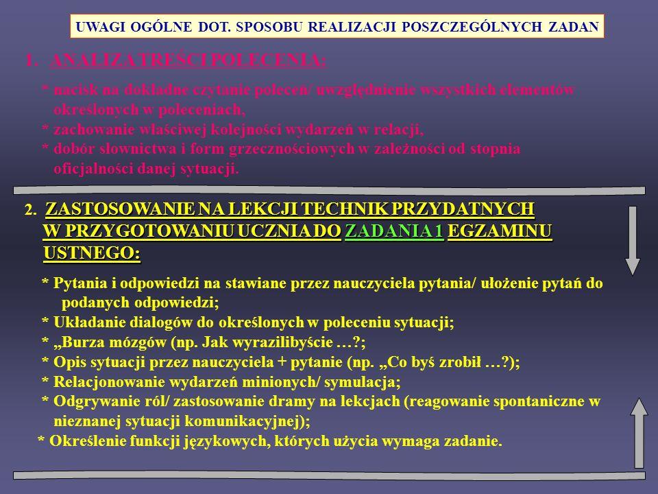 1.ANALIZA TREŚCI POLECENIA: * nacisk na dokładne czytanie poleceń/ uwzględnienie wszystkich elementów określonych w poleceniach, * zachowanie właściwe