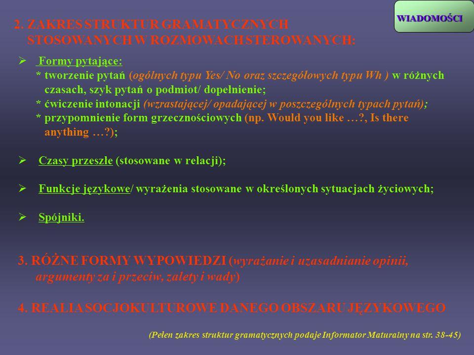 2. ZAKRES STRUKTUR GRAMATYCZNYCH STOSOWANYCH W ROZMOWACH STEROWANYCH: (Pełen zakres struktur gramatycznych podaje Informator Maturalny na str. 38-45)