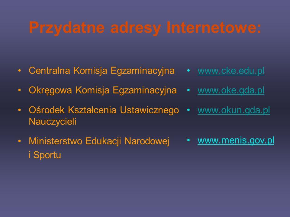 Przydatne adresy Internetowe: Centralna Komisja Egzaminacyjna Okręgowa Komisja Egzaminacyjna Ośrodek Kształcenia Ustawicznego Nauczycieli Ministerstwo