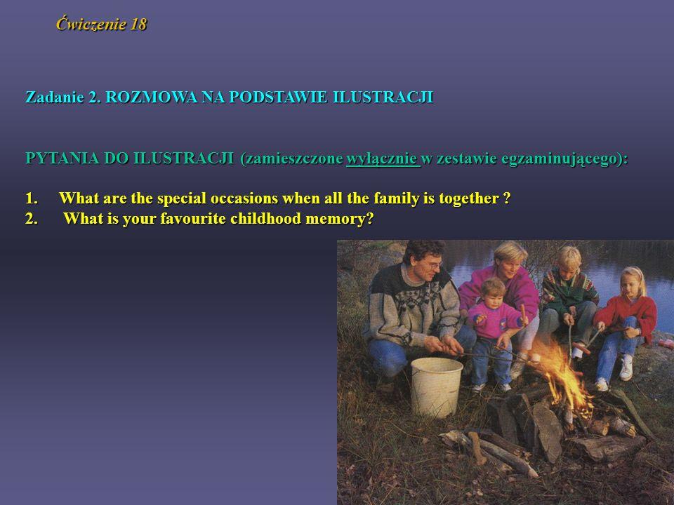 Zadanie 2. ROZMOWA NA PODSTAWIE ILUSTRACJI PYTANIA DO ILUSTRACJI (zamieszczone wyłącznie w zestawie egzaminującego): 1.What are the special occasions