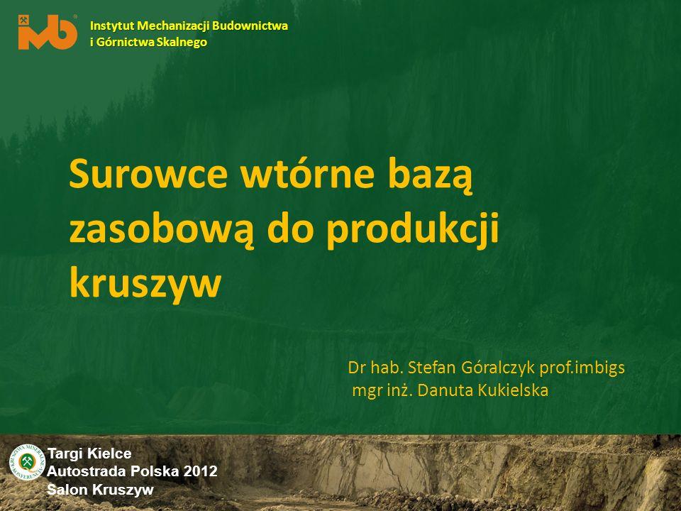Targi Kielce Autostrada Polska 2012 Salon Kruszyw Podsumowanie Zakres wykorzystania odpadów do produkcji kruszywa jest nieograniczony, pod warunkiem że kruszywo wyprodukowane z tych surowców spełnia wymagania dla kruszyw w normach PN-EN Zakres stosowania tych kruszyw ustalają wspomniane normy PN-EN i jest on identyczny jak dla kruszyw naturalnych Wszystkie grupy kruszyw są równoprawne, jeśli chodzi o zastosowanie do betonu, mieszanek bitumicznych oraz mieszanek związanych lub niezwiązanych hydraulicznie Jedynym kryterium zastosowania kruszywa są jego właściwości.