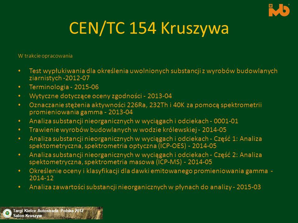 Targi Kielce Autostrada Polska 2012 Salon Kruszyw CEN/TC 154 Kruszywa W trakcie opracowania Test wypłukiwania dla określenia uwolnionych substancji z