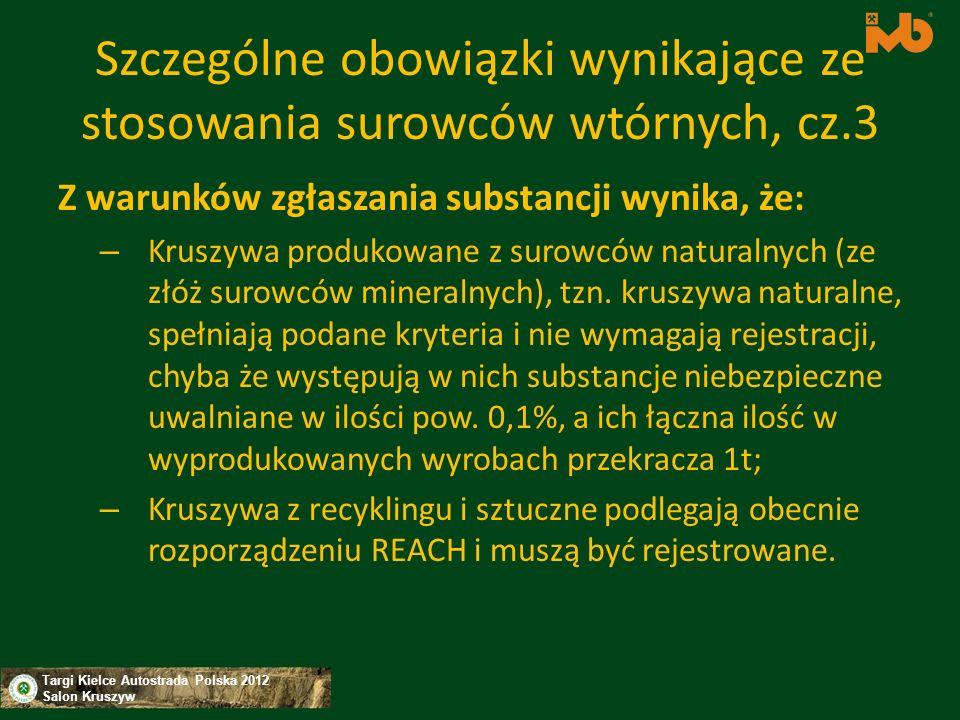 Targi Kielce Autostrada Polska 2012 Salon Kruszyw Szczególne obowiązki wynikające ze stosowania surowców wtórnych, cz.3 Z warunków zgłaszania substanc