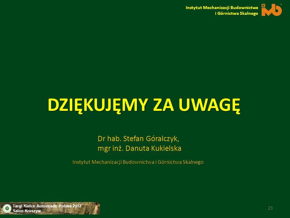 Targi Kielce Autostrada Polska 2012 Salon Kruszyw DZIĘKUJĘMY ZA UWAGĘ Instytut Mechanizacji Budownictwa i Górnictwa Skalnego 23 Dr hab. Stefan Góralcz