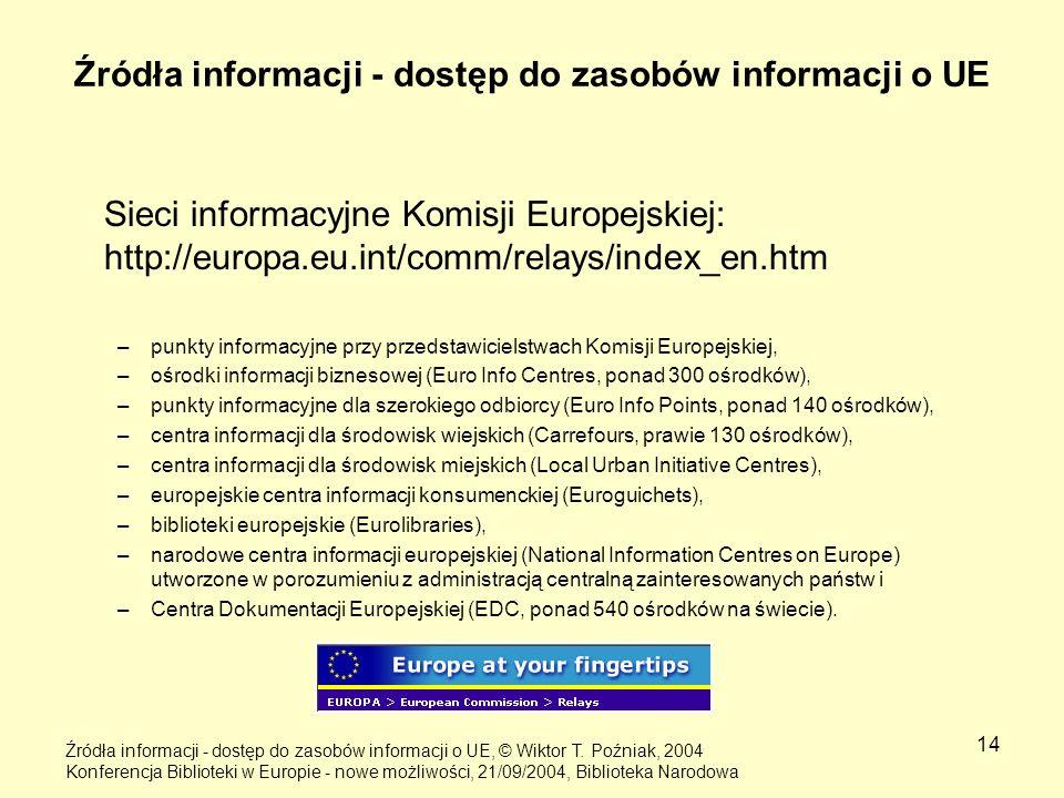 14 Źródła informacji - dostęp do zasobów informacji o UE Sieci informacyjne Komisji Europejskiej: http://europa.eu.int/comm/relays/index_en.htm –punkt