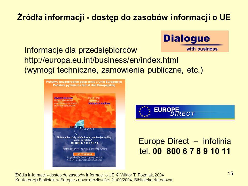 15 Źródła informacji - dostęp do zasobów informacji o UE Informacje dla przedsiębiorców http://europa.eu.int/business/en/index.html (wymogi techniczne