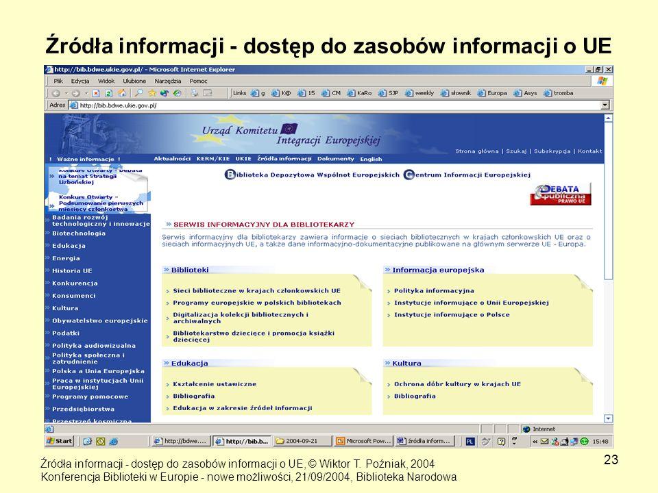 23 Źródła informacji - dostęp do zasobów informacji o UE Źródła informacji - dostęp do zasobów informacji o UE, © Wiktor T. Poźniak, 2004 Konferencja