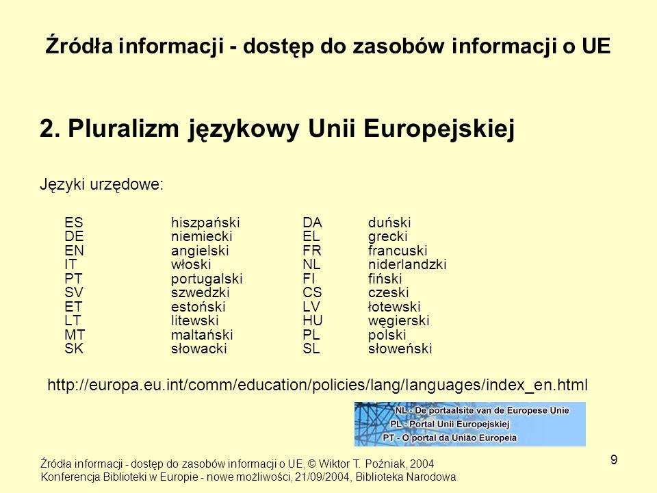 9 Źródła informacji - dostęp do zasobów informacji o UE 2. Pluralizm językowy Unii Europejskiej Języki urzędowe: ES hiszpańskiDA duński DE niemieckiEL