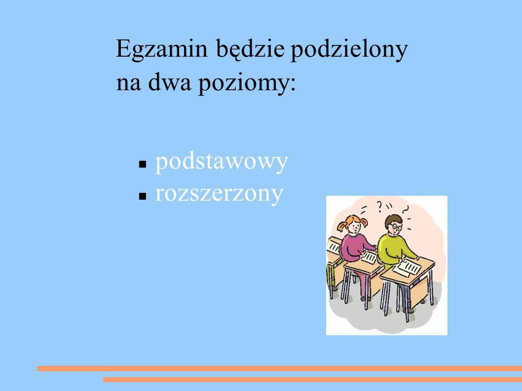 Egzamin będzie podzielony na dwa poziomy: podstawowy rozszerzony