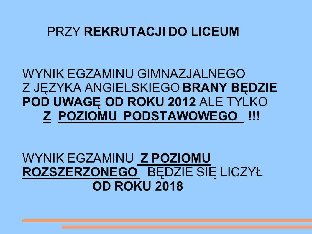 NOWOŚCI EGZAMINACYJNE POZIOM ROZSZERZONY-cd.