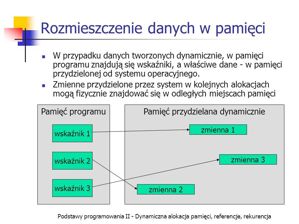 Podstawy programowania II - Dynamiczna alokacja pamięci, referencje, rekurencja Dynamiczna alokacja tablicy Dynamiczne utworzenie tablicy : wskaźnik=new typ[rozmiar]; Operator new generuje w tym przypadku również wskaźnik do typu typ, z tym że przydzielany jest obszar pamięci pozwalający zapisać rozmiar danych typu typ.