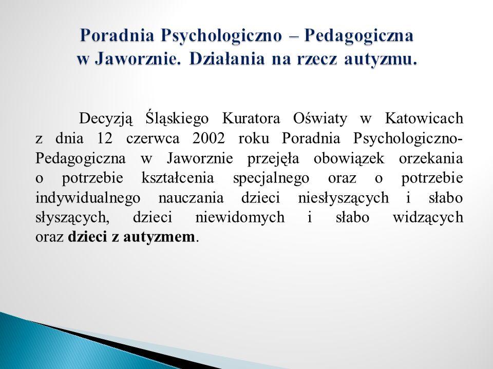 Decyzją Śląskiego Kuratora Oświaty w Katowicach z dnia 12 czerwca 2002 roku Poradnia Psychologiczno- Pedagogiczna w Jaworznie przejęła obowiązek orzek