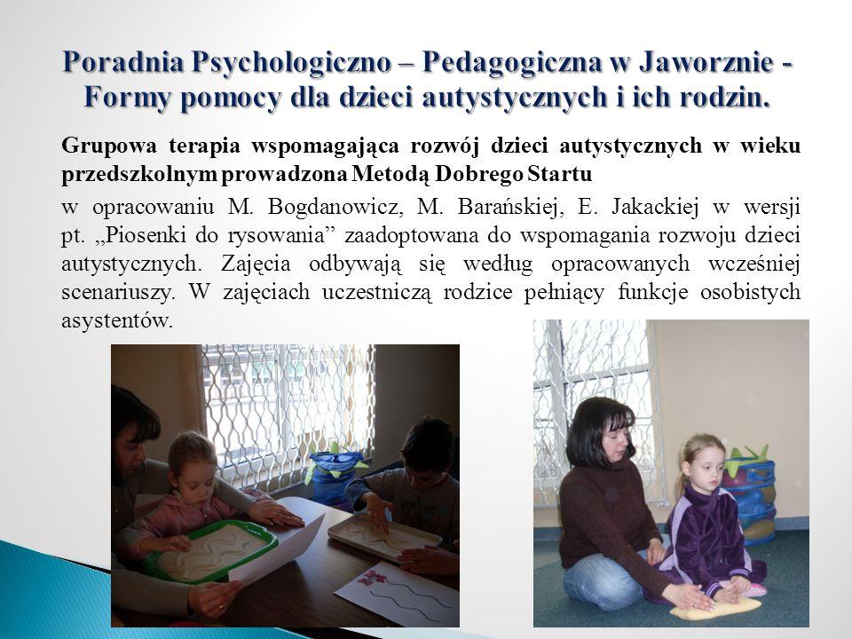 Grupowa terapia wspomagająca rozwój dzieci autystycznych w wieku przedszkolnym prowadzona Metodą Dobrego Startu w opracowaniu M. Bogdanowicz, M. Barań