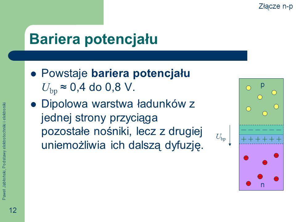 Paweł Jabłoński, Podstawy elektrotechniki i elektroniki 12 Bariera potencjału Powstaje bariera potencjału U bp 0,4 do 0,8 V.