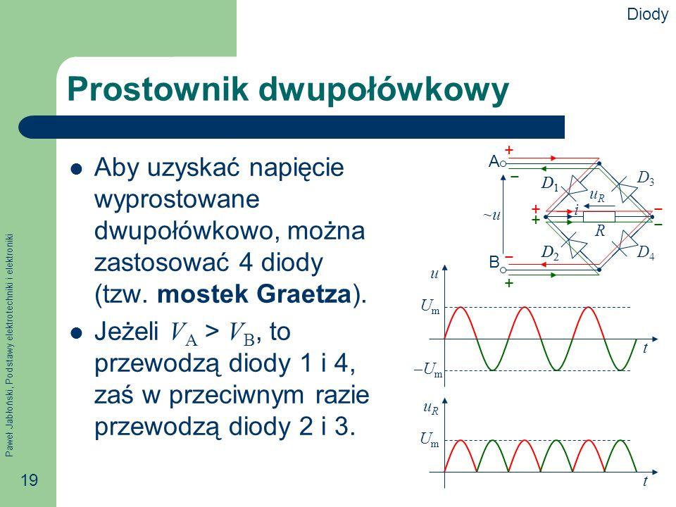 Paweł Jabłoński, Podstawy elektrotechniki i elektroniki 19 A B i R uRuR ~u~u D1D1 D2D2 D3D3 D4D4 Prostownik dwupołówkowy Aby uzyskać napięcie wyprostowane dwupołówkowo, można zastosować 4 diody (tzw.