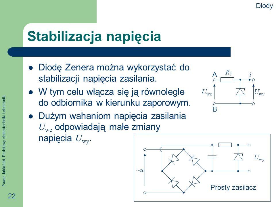 Paweł Jabłoński, Podstawy elektrotechniki i elektroniki 22 Stabilizacja napięcia Diodę Zenera można wykorzystać do stabilizacji napięcia zasilania.