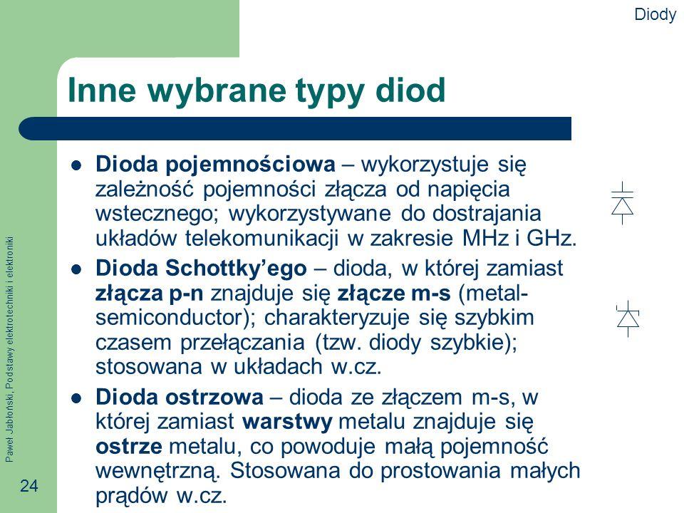 Paweł Jabłoński, Podstawy elektrotechniki i elektroniki 24 Inne wybrane typy diod Dioda pojemnościowa – wykorzystuje się zależność pojemności złącza od napięcia wstecznego; wykorzystywane do dostrajania układów telekomunikacji w zakresie MHz i GHz.