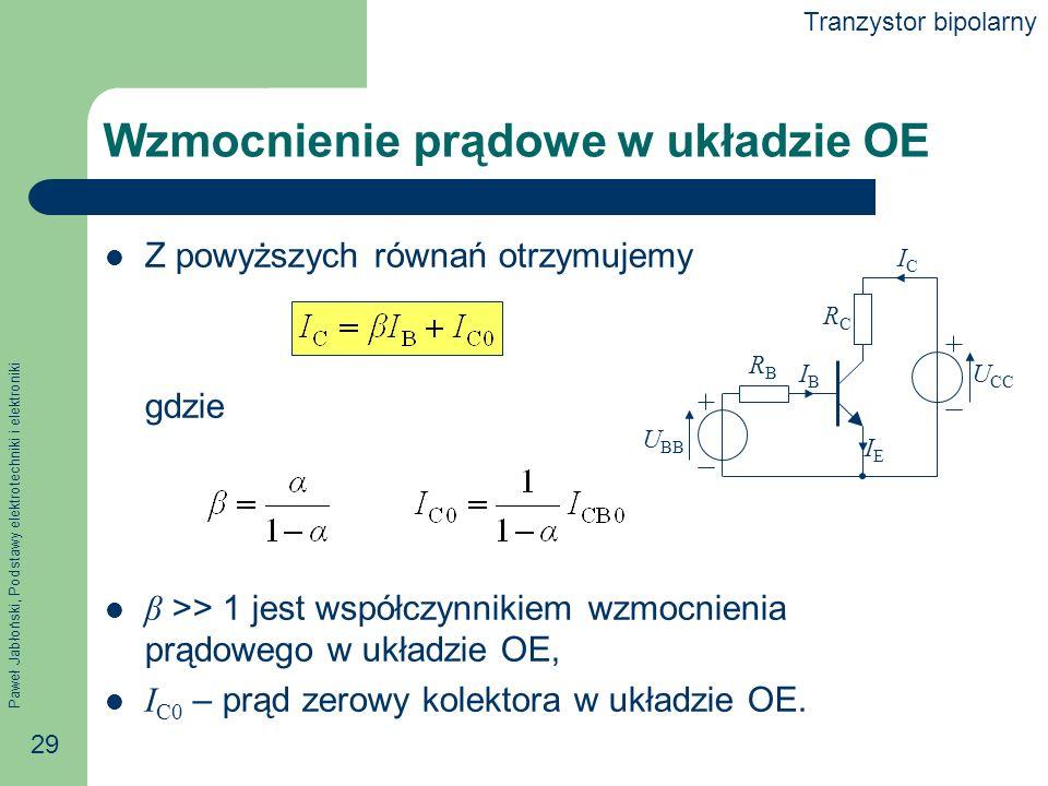 Paweł Jabłoński, Podstawy elektrotechniki i elektroniki 29 Wzmocnienie prądowe w układzie OE Z powyższych równań otrzymujemy gdzie β >> 1 jest współczynnikiem wzmocnienia prądowego w układzie OE, I C0 – prąd zerowy kolektora w układzie OE.