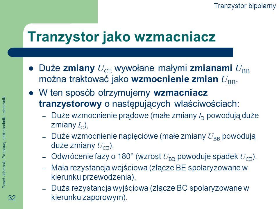 Paweł Jabłoński, Podstawy elektrotechniki i elektroniki 32 Tranzystor jako wzmacniacz Duże zmiany U CE wywołane małymi zmianami U BB można traktować jako wzmocnienie zmian U BB.