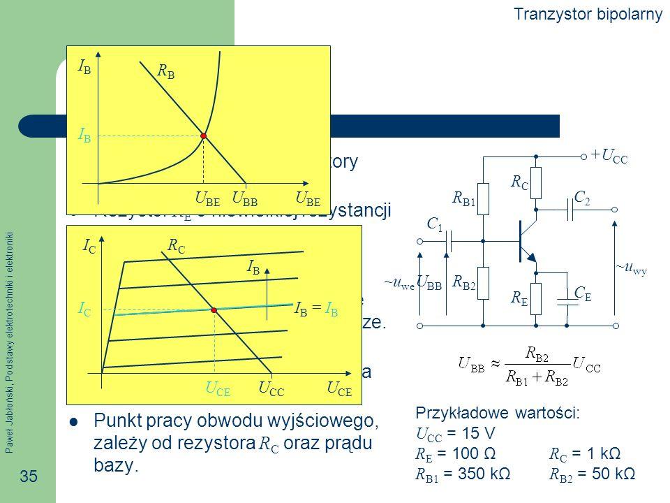Paweł Jabłoński, Podstawy elektrotechniki i elektroniki 35 Punkt pracy Dla prądu stałego kondensatory stanowią przerwę.
