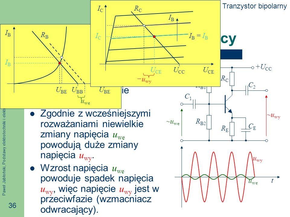 Paweł Jabłoński, Podstawy elektrotechniki i elektroniki 36 Oscylacje wokół punktu pracy Dla zmiennego sygnału wejściowego kondensatory stanowią praktycznie zwarcie.